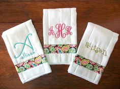 Baby girl boutique burp cloth set, paisley pink and green, custom embroidery and monogram. on Etsy, $24.00