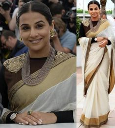 #Bollywood Style Inspiration: Ways To Wear Kerala Sarees For Onam White And Gold Saree, Latest Saree Trends, Kasavu Saree, Bollywood Wedding, Bollywood Style, Saree Draping Styles, Kerala Saree, Summer Wedding Outfits, Vidya Balan