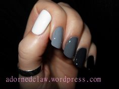 An Ombre Manicure Is a really easy! It is a gradient from nail to nail with five nail polishes which are applied each on one full nail (rather than a gradient over one nail, which is a gradient man… Black Ombre Nails, Gradient Nails, Stiletto Nails, White Ombre, Pastel Nails, Glitter Acrylics, Acrylic Nails, Opi, Ombre Nail Designs