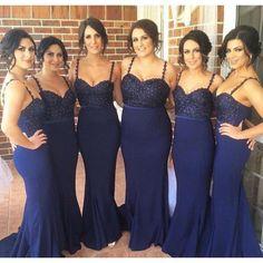 New Elegant Spaghetti Straps Mermaid Navy Blue Long Bridesmaid Dresses With Beading 2016 Floor Length Satin Wedding Party Dress