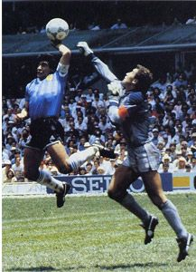 Maradonna's infamous 'hand of god' which knocked England out of the 1986' World Cup!
