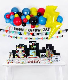 It's a SUPER bash powered by action-packed party goods in bright and bold colors. Perfect for your little world-saving superhero in training! Superhero Party Decorations, Superhero Birthday Party, 4th Birthday Parties, Birthday Party Decorations, Party Themes, Adult Superhero Party, Boy Birthday Themes, Superhero Baby Shower, Party Ideas