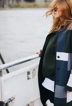 Sweater Cullum, cardigan Karry, coat Manhatten, leather pants Dixon. Via Maja Wyh