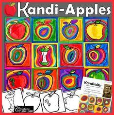 Back to School Art Project : Kandi-Apples : In the Style of Kandinsky - Kunstunterricht Apple Art Projects, Fall Art Projects, Classroom Art Projects, School Art Projects, Art Classroom, Line Art Projects, Color Art Lessons, Art Lessons For Kids, Art For Kids