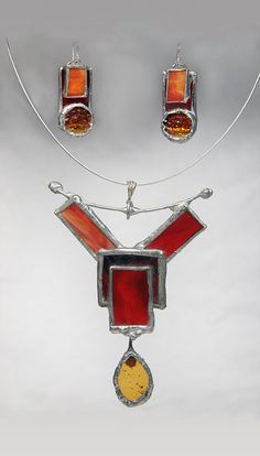 Unusual Stained Glass Necklace and Earring Set by GlassFusionsDotNet on Etsy