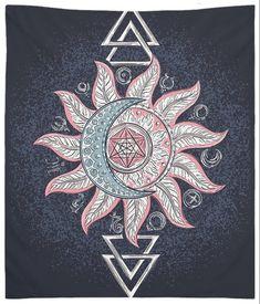 Mandala Wall Tapestry Alchemy Sun Moon Blue Boho Wall Hanging Home Decorations Mandala Tapestry, Tapestry Weaving, Hanging Tapestry, Boho Wall Tapestry, Sun Mandala, Tapestry Bedroom, Mandala Print, Boho Hippie, Bohemian Art
