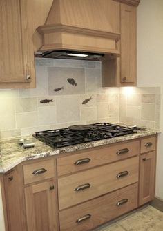 fossil fish backsplash - The Perfect backsplash!...LOVE IT!!