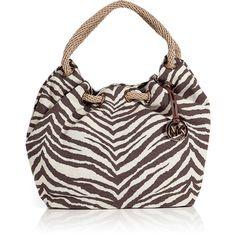 MICHAEL MICHAEL KORS Tiger Canvas Shoulder Bag ($185) ❤ liked on Polyvore