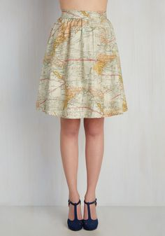 For the Mercator Good Skirt. Joy meets world when you don with cotton midi skirt, and when youre feeling this fab, your goodwill is bound to travel far! #cream #modcloth