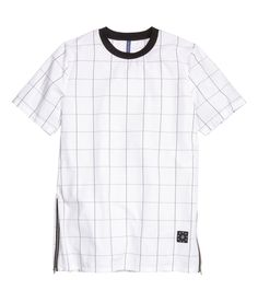 Long T-shirt in woven cotton fabric. Ribbing at neckline and zips at sides of hem. | H&M Divided Guys