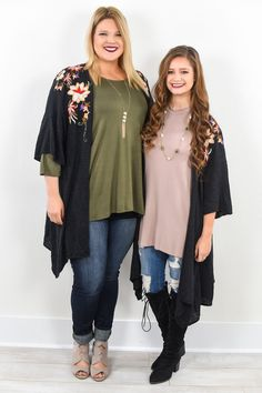 It's Your Choice Black Floral Embroidered Kimono - O493BK