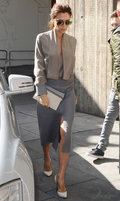 Victoria Beckham in Victoria Beckham collection skirt and top in London
