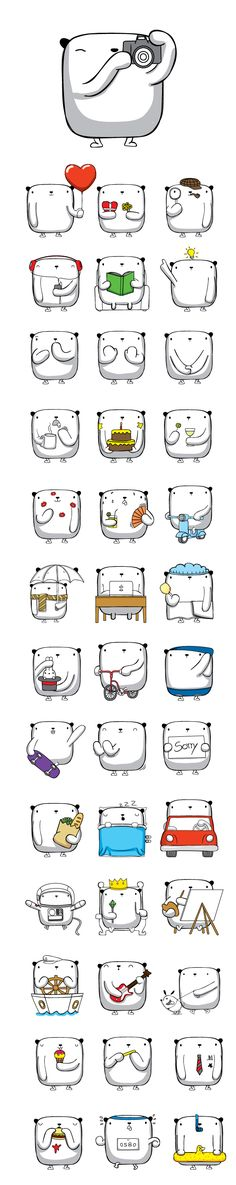 """OPI"" Stickers for Facebook Messenger by OSCAR OSPINA, via Behance--inspiration"