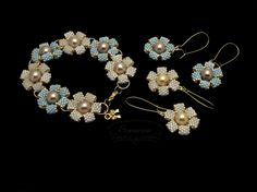 Flower bracelet and earrings
