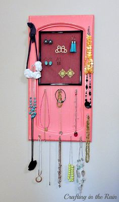 Turn a Cabinet Door into a Jewelry Holder | Crafting in the Rain