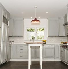 Charming Benjamin Moore Paint, Coventry Gray Benjamin Moore, Gray Kitchens, Red  Pendant Light,