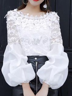 Buy Blouses, Online Shop, Women's Fashion Blouses for Sale Blouse Styles, Blouse Designs, Hijab Fashion, Fashion Outfits, Womens Fashion, Dresses Kids Girl, Beautiful Blouses, Types Of Sleeves, Lace Tops