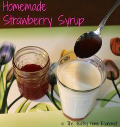 Make your own homemade strawberry syrup to mix with milk, homemade ice cream, or drizzle on pancakes and ditch the artificial strawberry nasties from the store. http://www.thehealthyhomeeconomist.com/homemade-strawberry-syrup/