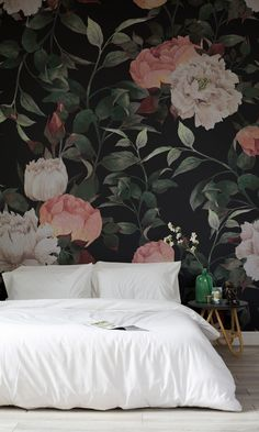 Make a statement with this dark floral wallpaper mural. Inky flowers are set against a sumptuously dark background, creating a dramatic effect in any interior. Perfect for bedroom spaces looking for a truly sophisticated feel. Girls Bedroom, Bedroom Decor, Wall Decor, Bedroom Lighting, Design Bedroom, Guest Bedrooms, Bedroom Ideas, Modern Bedroom, Master Bedroom