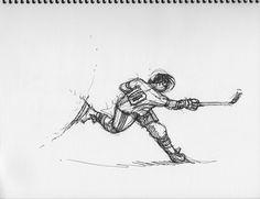 Slapshot Sketch - Pen & Ink. Hockey art by Cam Wilson. www.hockeyartist.com