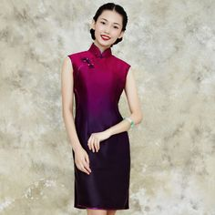 Modern Cheongsam Silk Gradient Purple Qipao Dress by AnnularRings on Etsy https://www.etsy.com/listing/515936283/modern-cheongsam-silk-gradient-purple