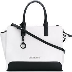 Armani Jeans Shopping Bag (£125) ❤ liked on Polyvore featuring bags, handbags, tote bags, white, white shopping bags, armani jeans purse, white handbags, white tote bag and shopper handbag