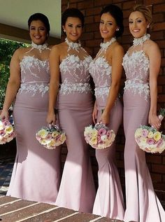 long mermaid bridesmaid dress, 2016 bridesmaid dress, wedding party dress, blush pink bridesmaid dress