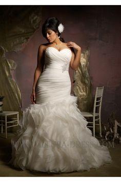 Sweetheart Chapel Train Organza Trumpet Mermaid Plus Size Wedding Dress 11013030 - Plus Size Wedding Dresses - Wedding Dresses