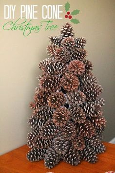 40 Creative Pinecone Crafts for Your Holiday Decorations --> Pinecone Christmas Tree Pine Cone Tree, Pine Cone Christmas Tree, Noel Christmas, Rustic Christmas, Primitive Christmas, Pine Cone Wreath, Cone Trees, Christmas Lights, Pine Cone Crafts