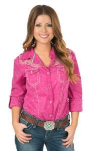 Wired Heart Women's Distressed Pink with Sand Embroidery Long Sleeve Western Shirt | Cavender's
