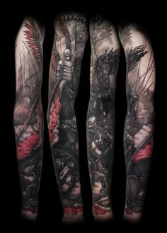 Medieval War Knight tattoo sleeve