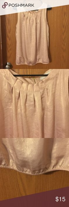 Blush Shimmer Blouse Blush tank with a shimmer to it. Zip up back, and cinched band at bottom. Comfortable and flattering! LOFT Tops Blouses