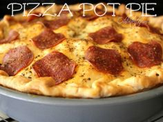 Pizza Pot Pie. This Pizza is everything we love about traditional Pizza, it's cheesy, meaty goodness all snuggled inside 2 layers of flaky Pie Crust. It's the perfect combo of a flaky, buttery Pot Pie and a delicious Pizza!