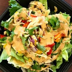 Thai salad with easy homemade peanut dressing. Peanut flour helps saves calories while still giving a great peanut flavor. #fitnessfood #thaisalad #mealprep