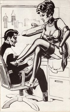 Self-portrait of illustrator Eric Stanton, from Fantasy in Fashion (Hint: he's the one on the left. Beautiful Dark Twisted Fantasy, Dark And Twisted, Eric Stanton, Pin Up, Artists And Models, Living Legends, Comic Covers, Pulp Fiction, Erotica