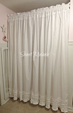 ~Sweet Melanie~ Make your own shabby chic chower curtain from sheets.