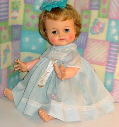 Vintage 1963 Ideal Baby Kissy Doll with Box and in Original RARE Blue Aqua Dress | eBay