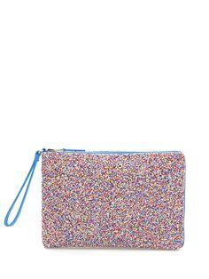 LIU.JO - Borse - Accessori - Pochette in tessuto rivestito di micro perline, zip di chiusura gold. Misure 31 x 20 cm. - BLU - € 69.00