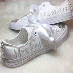 Personalized Wedding CONVERSE Bridal Sneakers Personalized with Swarovski . - Personalized Wedding CONVERSE Bridal Sneakers with Swarovski personalized with your new name & date - Bride Converse, Converse Wedding Shoes, Wedding Sneakers, Wedge Wedding Shoes, Wedding Boots, Bridal Shoes, Wedding Tennis Shoes, Bedazzled Converse, Wedding Shoes Bride