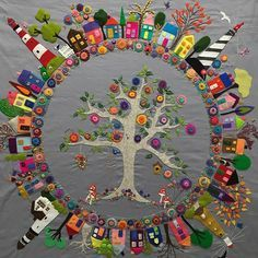 Crazy quilting ideas awesome ideas for 2019 Wool Quilts, Mini Quilts, Wool Applique Quilts, Wool Embroidery, Embroidery Stitches, Embroidery Patterns, Wool Applique Patterns, Ribbon Embroidery, Art Du Fil