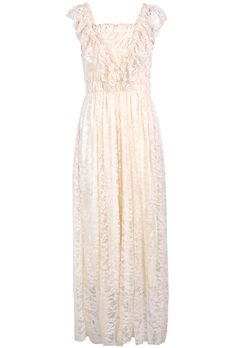 Apricot Square Neck Sleeveless Lace Pleated Dress