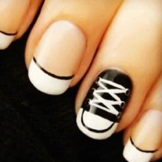 Converse Nails cute...I like the thin black line accenting the french tip!