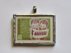 Postage Stamp Pendant: Children in School by bookshelvesofdoom, $16.00