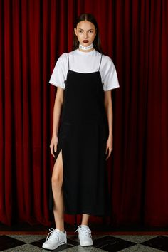Sandy Liang strappy black dress layered over a tee w/ collar choker Look Boho, Look Chic, Look Fashion, Fashion Outfits, Womens Fashion, Fashion Trends, Casual Outfits, Cute Outfits, Looks Cool