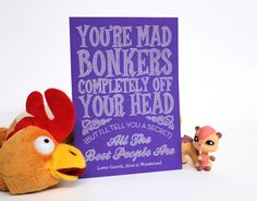 You're Mad, Bonkers - Alice in Wonderland pen drawn art card £4.00