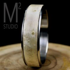 White Birdseye Maple Bangle with Stainless Steel Core