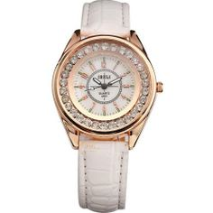 AMPM24 Fashion Charm Crystal Lady Women Analog Quartz White Leather Watch Gift IBELI. $10.79