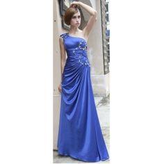 Sheath/Column  One Shoulder  Empire Floor-length Imitated Silk Blue Evening/Prom Dress