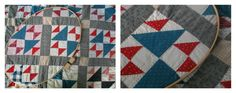 Antique quilt from late 19th century, Old Maid's Puzzle, with quilting hoop for hand quilting.