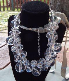"Vintage Haute Couture Runway Statement Clear Lucite Bubble Bead Necklace 32"" adj"